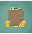 closed wallet with cash vector image vector image