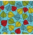 Colorful seamless pattern with leaves on blue vector image vector image