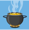 cooking soup in pan pot on stove with steam vector image vector image