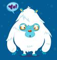 Cute cartoon monster bigfoot character vector image