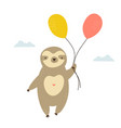 cute sloth with balloons flying in a sky vector image vector image