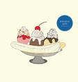 delicious sweet banana split ice cream dessert vector image vector image