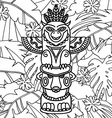 Doodle Traditional Tribal Totem Pole on plants vector image