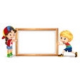 Girl and boy by the wooden frame vector image vector image