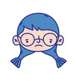 girl head with glasses and hairstyle design vector image