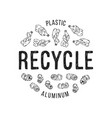 hand drawn of recyclable materials vector image