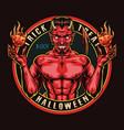 happy halloween round vintage colorful emblem vector image