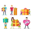 Happy Peoples with Gifts Flat Design Set vector image