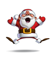 happy santa jumping in ecstasy with open hands vector image vector image
