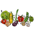 happy vegetables group cartoon vector image vector image