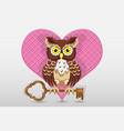 heart and owl holds the key to it valentines day vector image vector image