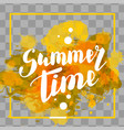 hello summer yellow colored hand lettering vector image vector image