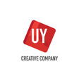 initial letter uy logo template design vector image vector image