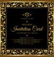 invitation card - decorative black and gold design vector image vector image