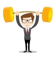 man lifts up heavy barbell with dollar sign vector image vector image
