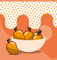 mango in bowl harvest fruit tasty dotted vector image