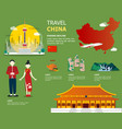map of the china and landmark icons for traveling vector image