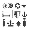 military army elements collection isolated vector image vector image