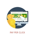 Pay per click icon with pc and notebook vector image