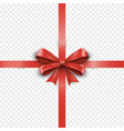 realistic red cross silk gift bow with ribbon vector image vector image