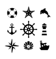 Sea icon collection isolated on white background vector image vector image