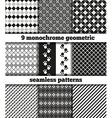 set black-white monochrome geometric seamless p vector image vector image