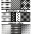 Set of black-white monochrome geometric seamless p vector image vector image