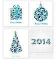 Set of merry christmas cards vector image