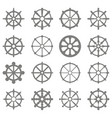 set of monochrome icons with dharmachakra vector image vector image