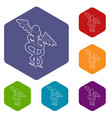 sign medicine icons hexahedron vector image vector image