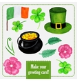 Stpatrick day set for greeting card with hat vector image vector image