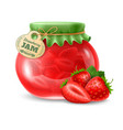 strawberry jam in the glass jar vector image vector image