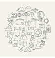 Summer Holiday Line Travel Icons Set Circular vector image