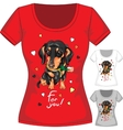 T-shirt with dachshund and flower vector image vector image