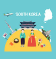 traveling to south korea with landmarks and map vector image vector image