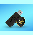 usb flashdrive with a protection shield antivirus vector image