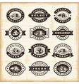 Vintage organic farming stamps set vector image vector image