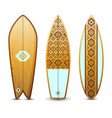 wooden surfboards set vector image