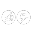 thumb up thumb down contour icon vector image