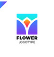 abstract flower tulip logo in square icon design vector image vector image