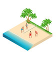 beach volley ball player jumps on net and vector image
