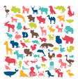 Big set of animals silhouettes in cartoon style