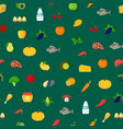 cartoon healthy food signs seamless pattern vector image