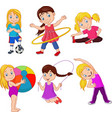 cartoon little girls with different hobbies vector image vector image
