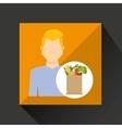 cartoon man blond with shop bag healthy food vector image vector image