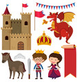 castle towers and different fairytale characters vector image vector image