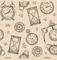 clock seamless pattern sketch time sketch vector image vector image