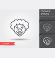 clown face line icon with editable stroke with vector image vector image