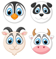Collection baby face animal vector image vector image