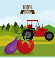 colorful poster of organic best food with tractor vector image vector image